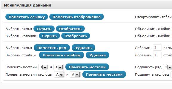 Опции редактирования таблиц