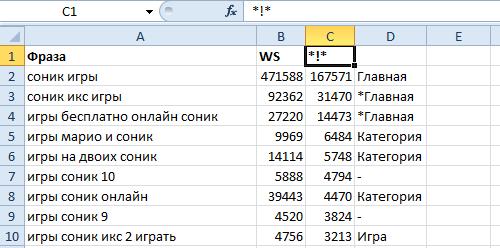 Составление семантического ядра в Excel
