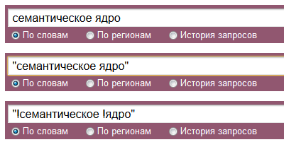 Варианты ввода поисковых запросов в Wordstat.Yandex